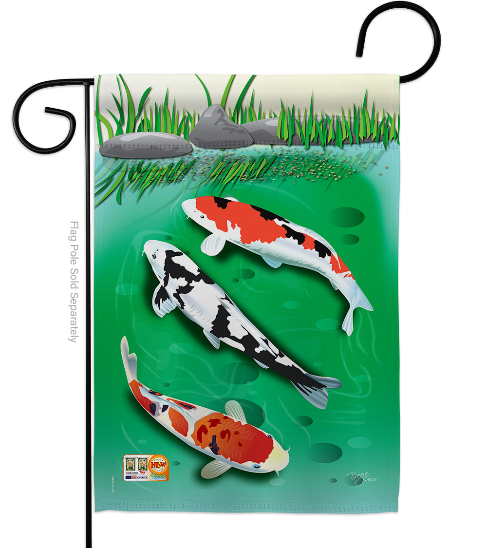 "Load image into Gallery viewer, ""Koi Fish"" Printed Seasonal Garden Flag; Polyester"