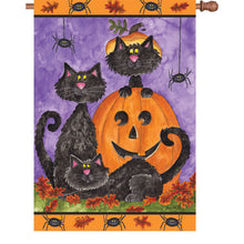 "Load image into Gallery viewer, ""Three Black Cats"" Printed Seasonal House Flag; Polyester"