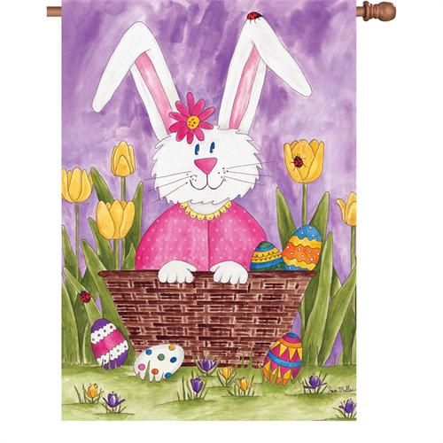 "Load image into Gallery viewer, ""Easter Bunny and Tulips"" Printed Seasonal House Flag; Polyester"