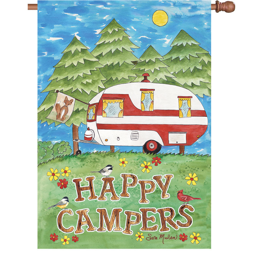 "Load image into Gallery viewer, ""Camping Fun"" Printed Seasonal House Flag; Polyester"