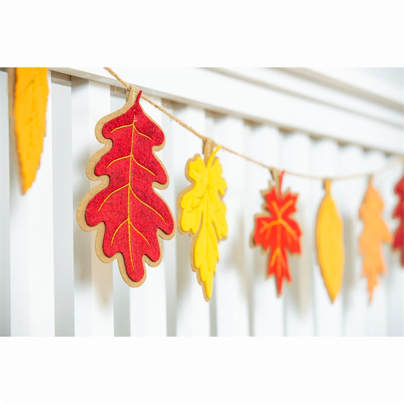 "Load image into Gallery viewer, ""Fall Leaves"" Seasonal Décor Banner; Polyester-Burlap 98""x7"""