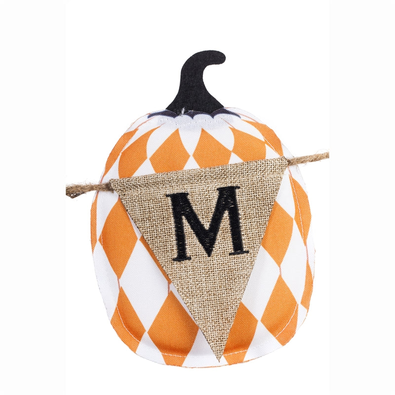 "Load image into Gallery viewer, ""Mixed Print Pumpkins"" Seasonal Décor Banner; Polyester-Burlap 86""x7"""