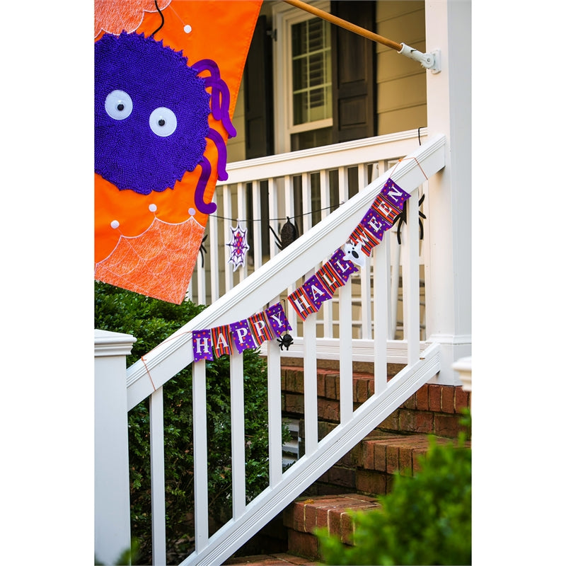 "Load image into Gallery viewer, ""Happy Halloween"" Seasonal Décor Banner; Polyester 36""x4"""