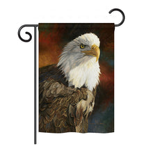 "Load image into Gallery viewer, ""Portrait of an Eagle"" Printed Seasonal Garden Flag; Polyester"