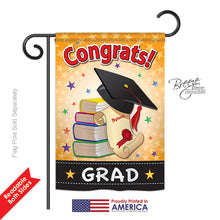 "Load image into Gallery viewer, ""Congrats Grad"" Printed Seasonal Garden Flag; Polyester"