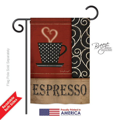 "Load image into Gallery viewer, ""Espresso"" Printed Seasonal Garden Flag; Polyester"