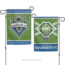Load image into Gallery viewer, Seattle Sounders Double Sided Vertical Garden Flag; Polyester