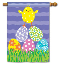 "Load image into Gallery viewer, ""Easter Chicks Rule"" Printed Seasonal House Flag; Polyester"