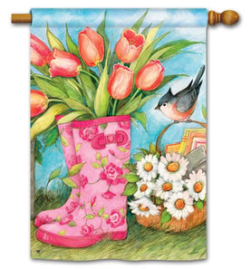 """Garden Boots with Tulips"" Printed Seasonal House Flag; Polyester"