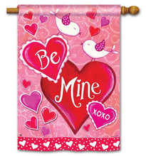 "Load image into Gallery viewer, ""Be Mine Love Birds"" Printed Seasonal House Flag; Polyester"