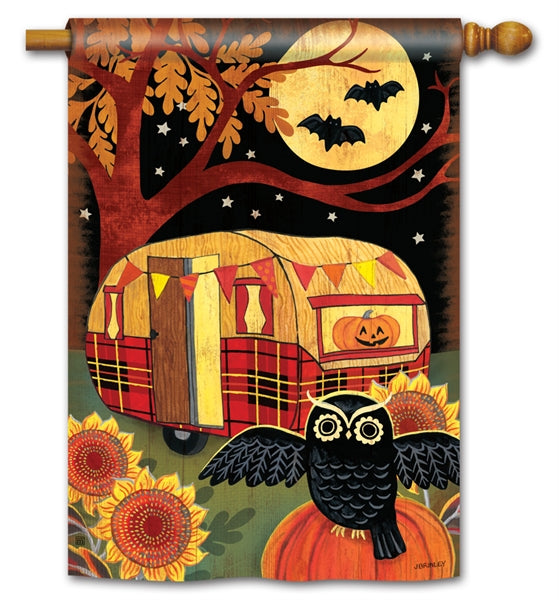 "Load image into Gallery viewer, ""Halloween Camper"" Printed Seasonal House Flag; Polyester"