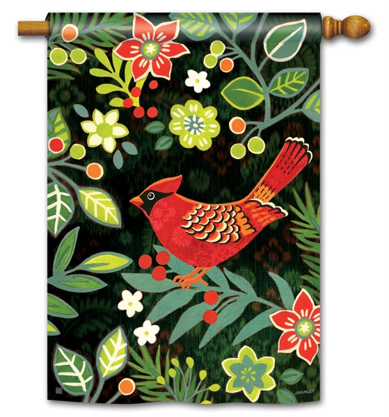 "Load image into Gallery viewer, ""Folk Holiday Cardinal"" Printed Seasonal House Flag; Polyester"