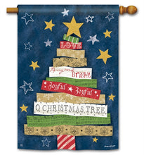 "Load image into Gallery viewer, ""Songs of Christmas Holiday Tree"" Printed Seasonal House Flag; Polyester"