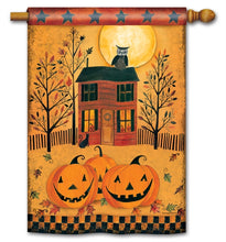 "Load image into Gallery viewer, ""Halloween Glow"" Printed Seasonal House Flag; Polyester"