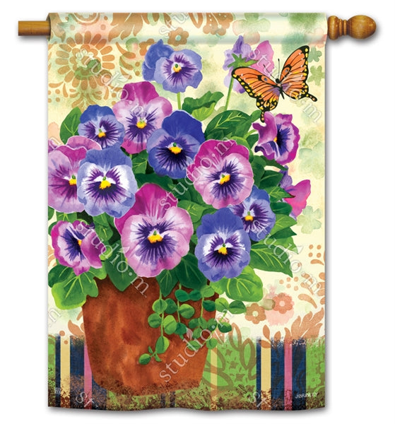 "Load image into Gallery viewer, ""Spring Pansies"" Printed Seasonal House Flag; Polyester"