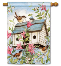 "Load image into Gallery viewer, ""Spring Birdhouse with Clematis"" Printed Seasonal House Flag; Polyester"