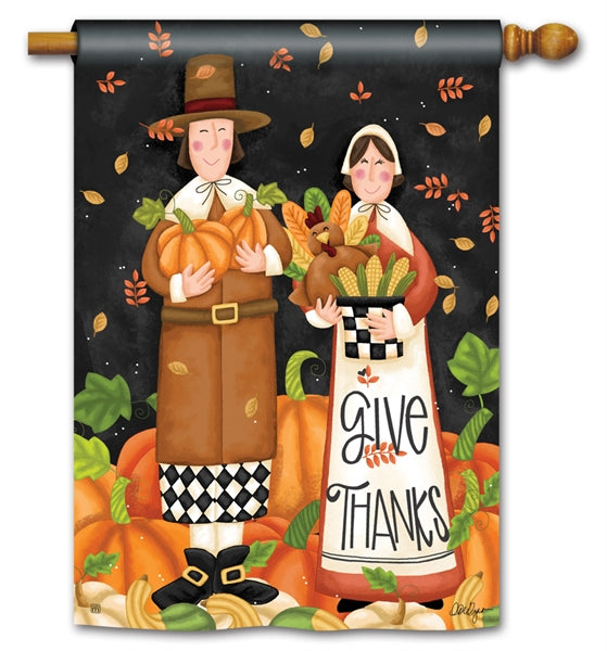 "Load image into Gallery viewer, ""Pilgrim Thanksgiving"" Printed Seasonal House Flag; Polyester"