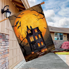 "Load image into Gallery viewer, ""Dark Manor"" Printed Seasonal House Flag; Polyester"