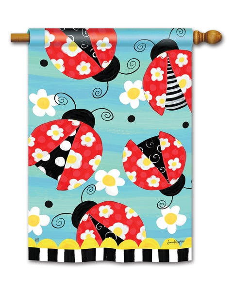 "Load image into Gallery viewer, ""Folk Ladybugs"" Printed Seasonal House Flag; Polyester"