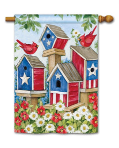 """All American Birdhouses"" Printed Seasonal House Flag; Polyester"
