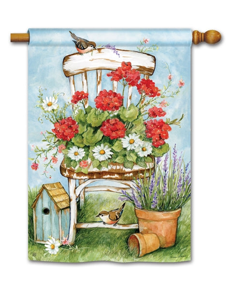"Load image into Gallery viewer, ""Summer Garden"" Printed Seasonal House Flag; Polyester"