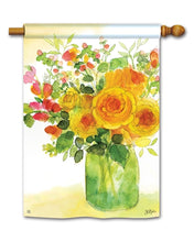 "Load image into Gallery viewer, ""Yellow Roses"" Printed Seasonal House Flag; Polyester"