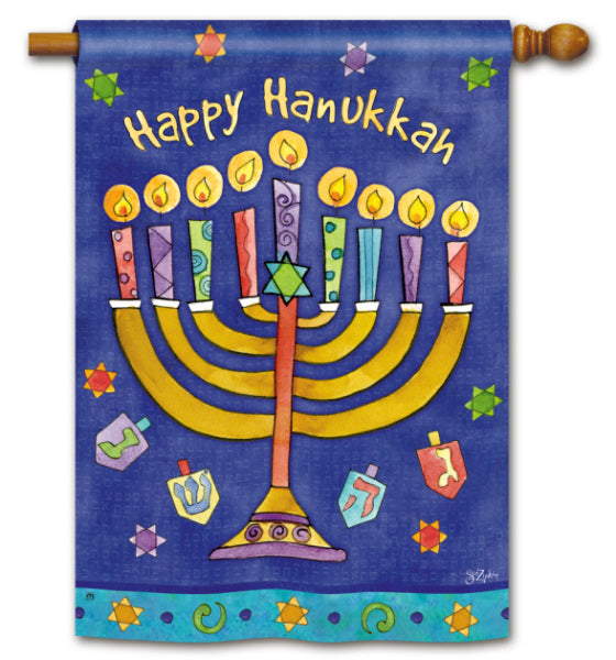 Load image into Gallery viewer, Happy Hanukkah Printed Seasonal House Flag; Polyester