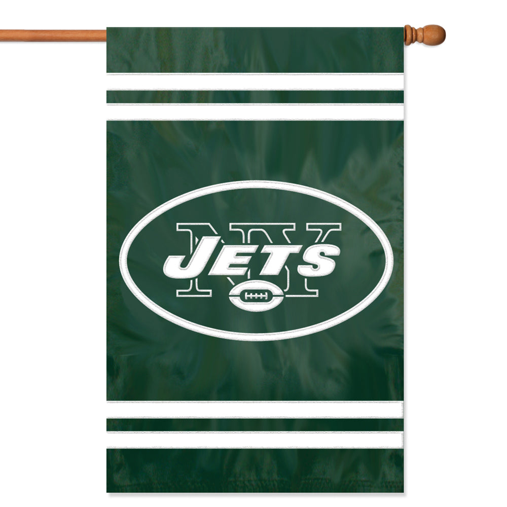 Load image into Gallery viewer, New York Jets Applique/Embroidered Double Sided House Flag with Sleeve & Hang Tabs for Hanging as a House Flag or on a Wall/Door; 420 Denier Nylon -