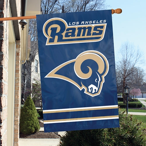 Load image into Gallery viewer, Los Angeles Rams Applique/Embroidered Double Sided House Flag with Sleeve & Hang Tabs for Hanging as a House Flag or on a Wall/Door; 420 Denier Nylon -