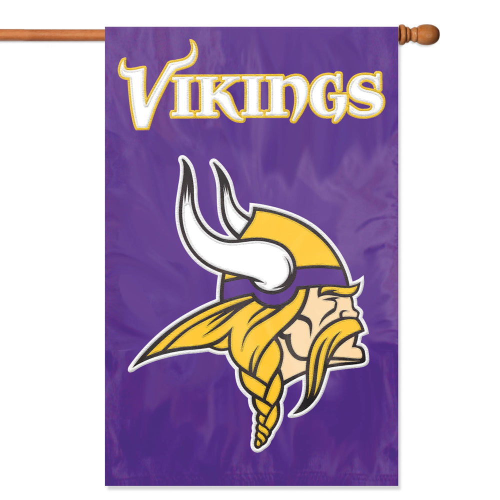 Load image into Gallery viewer, Minnesota Vikings Applique/Embroidered Double Sided House Flag with Sleeve & Hang Tabs for Hanging as a House Flag or on a Wall/Door; 420 Denier Nylon -