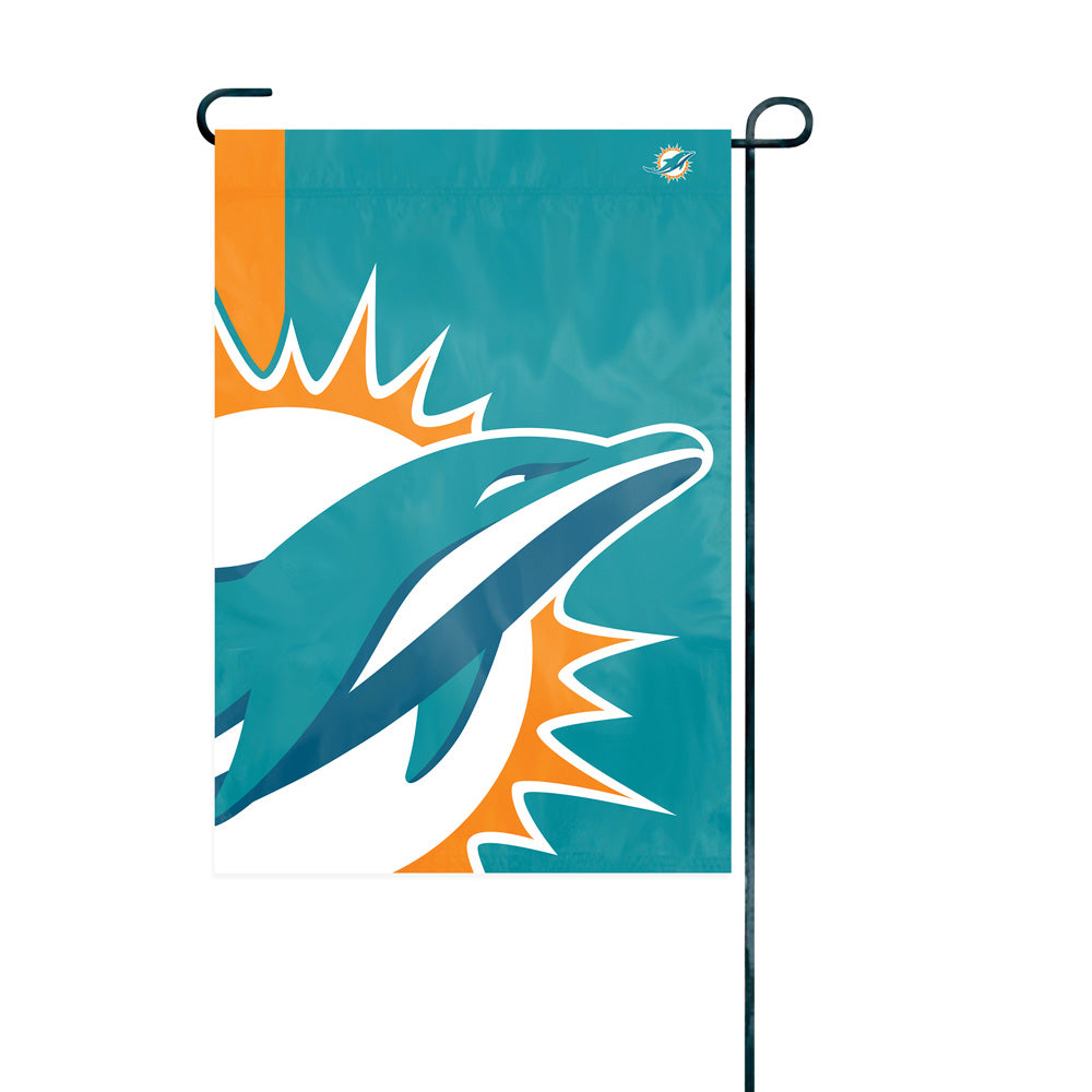 Load image into Gallery viewer, Miami Dolphins Printed Bold Logo Garden Flag; 420 Denier Nylon