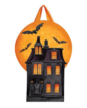 "Load image into Gallery viewer, ""Dark Halloween Manor"" Door Decor; PVC 20.5""Lx14.25""W"