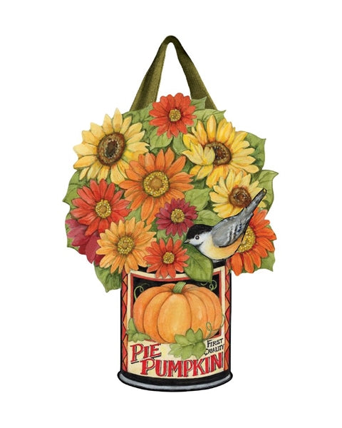 "Load image into Gallery viewer, ""Pumpkin Can Flowers"" Door Decor; PVC 18.75""Lx14.75""W"