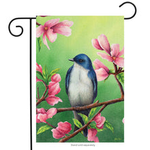 "Load image into Gallery viewer, ""Bluebird"" Printed Seasonal Garden Flag; Polyester"