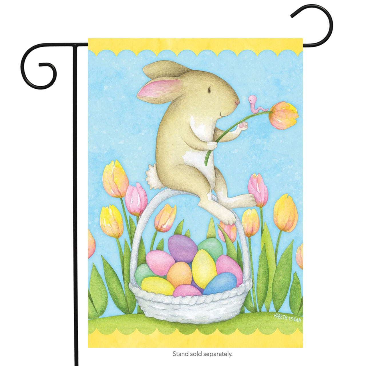 "Load image into Gallery viewer, ""Bunny & Basket"" Printed Seasonal Garden Flag; Polyester"