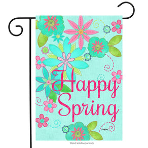 """Welcome Spring"" Printed Seasonal Garden Flag; Polyester"