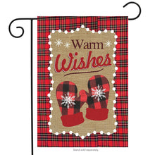 "Load image into Gallery viewer, ""Warm Winter Wishes"" Seasonal Garden Flag; Burlap"