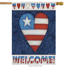 "Load image into Gallery viewer, ""Patriotic Heart"" Printed Seasonal House Flag; Polyester"