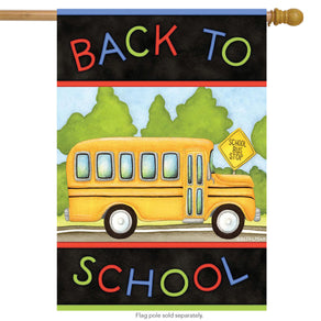 """Back to School Bus"" Printed Seasonal House Flag; Polyester"