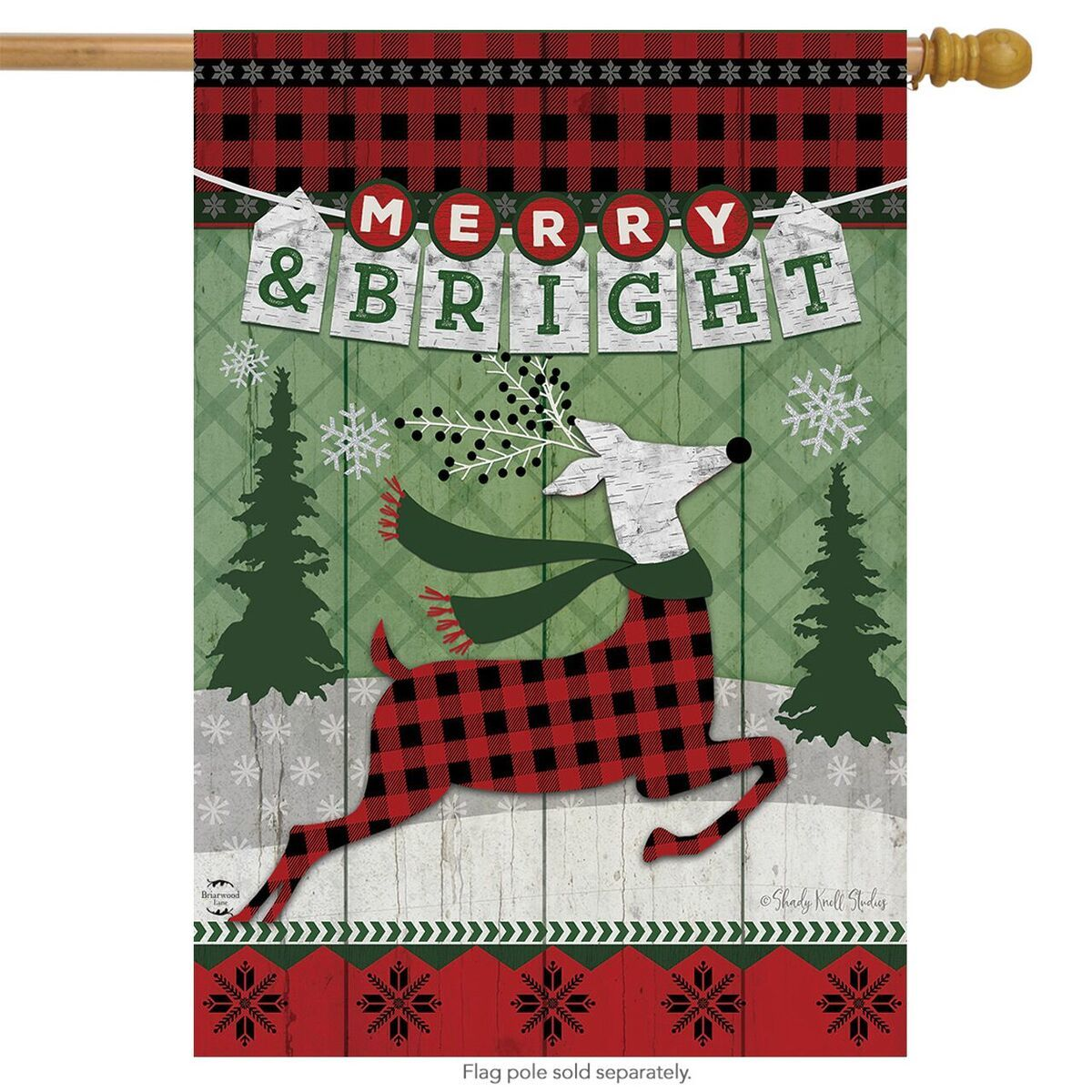 "Load image into Gallery viewer, ""Merry & Bright Reindeer"" Printed Seasonal House Flag; Polyester"