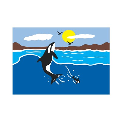 "Load image into Gallery viewer, ""Orca Whale"" Applique Windsock; Polyester"