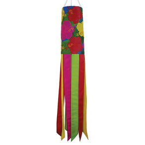 """Tropical Flowers"" Applique Windsock; Polyester"