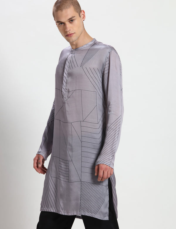 BORRIS KURTA - GREY/BLACK