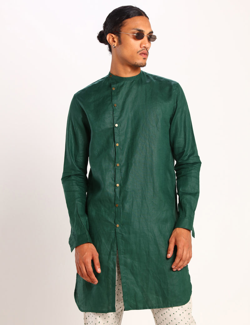 LOGAN KURTA - FOREST GREEN
