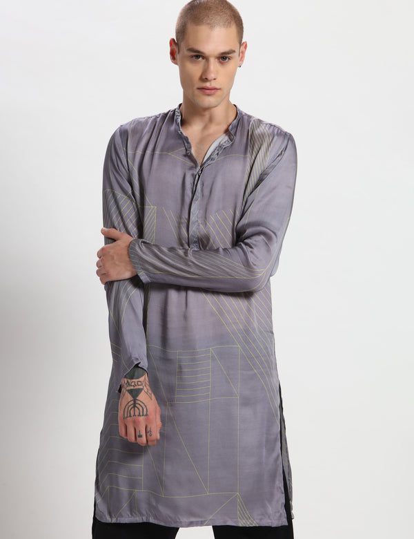 BORRIS KURTA - YELLOW / GREY