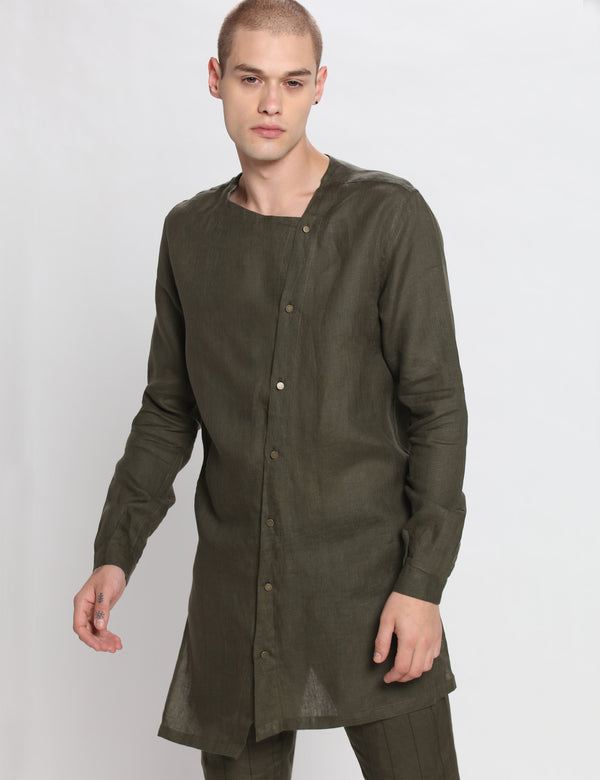 SLASH KURTA - GREEN