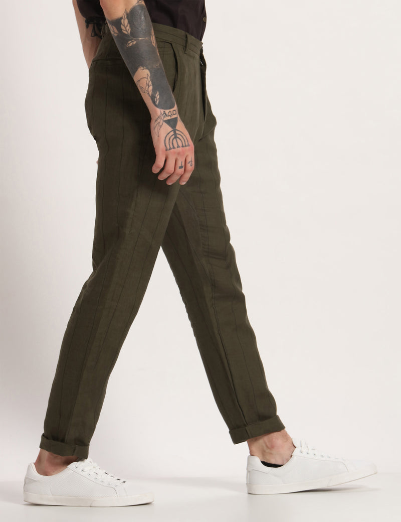 TOCO STRIPED TROUSER - GREEN