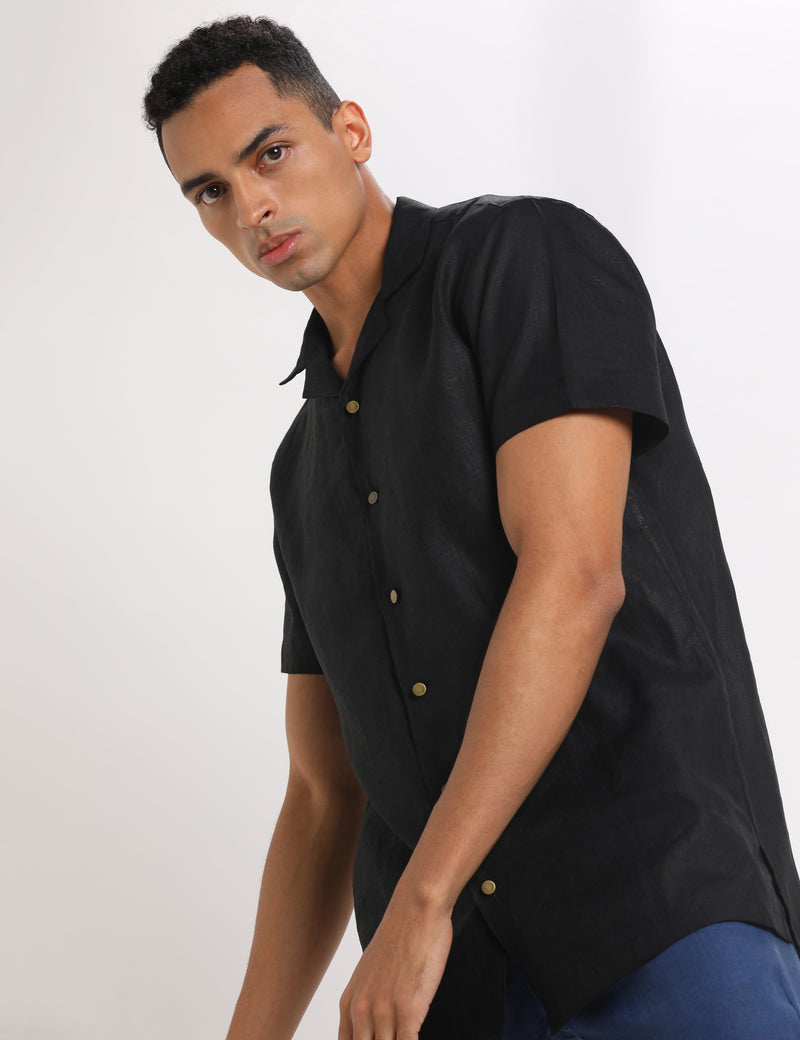ALEX SHIRT - BLACK LINEN