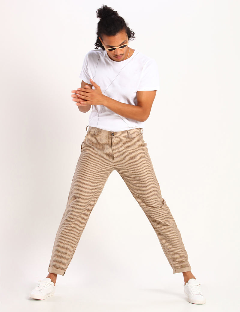 TOCO STRIPED TROUSER - BEIGE
