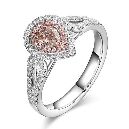 Light Brownish Pink Diamond Ring - aviadiamonds
